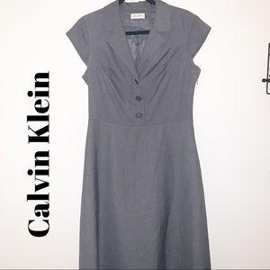 Calvin Klein Grey Midi Business Dress Sz 10